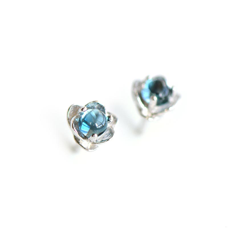 Blue Topaz Stud Earrings in Sterling Silver November Birthstone Handmade Jewelry