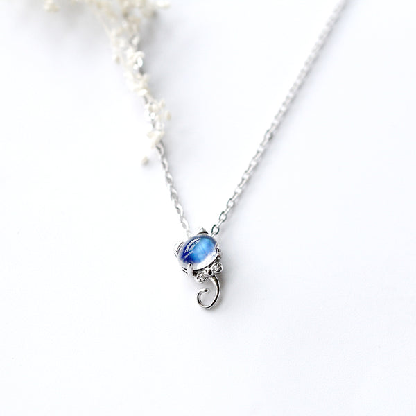 cute Moonstone Pendant Necklace Silver Handmade June Birthstone Gemstone Jewelry Accessories Women