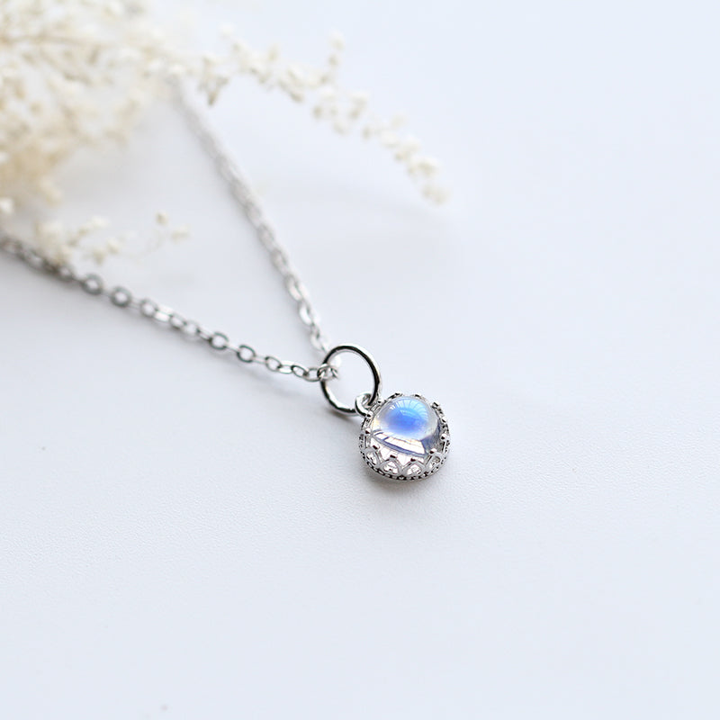 cute Moonstone Pendant Necklace Silver Handmade June Birthstone Gemstone Jewelry Accessories gift Women adorable