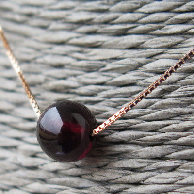 Garnet Bead Pendant Necklace Sterling Silver handmade Jewelry Accessories Women