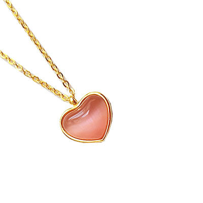 Pink Cat's Eye Pendant Necklace in Gold Plated Silver and Random Gift Choker Jewelry Accessories Women
