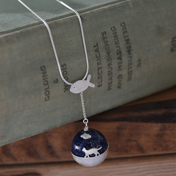 handmade Sterling Silver Lapis Lazuli Pendant Necklace Cute Cat lovers Jewelry Accessories Gifts Women beautiful