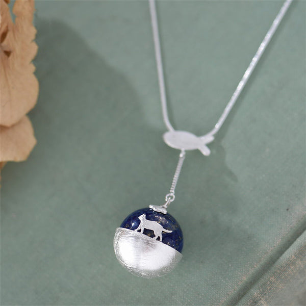 Lapis Lazuli Pendant Necklace in Sterling Silver Handmade Gemstone Jewelry For Women