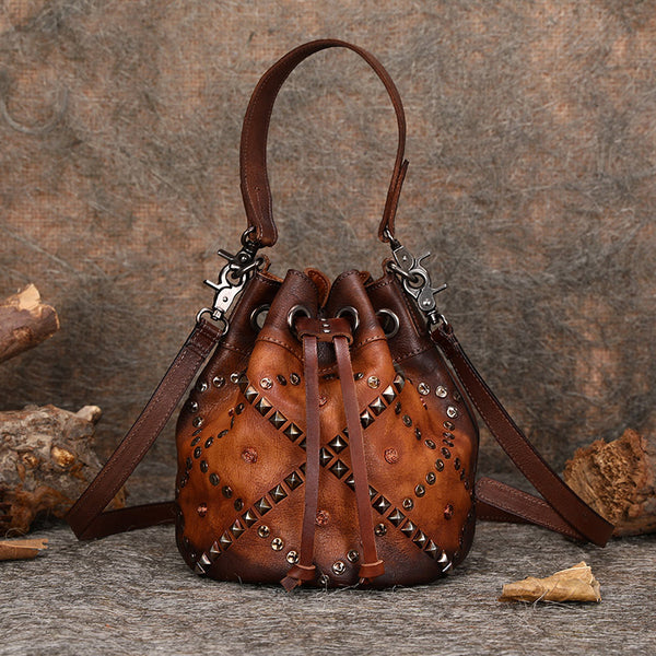 Rivets Leather Bucket Bag