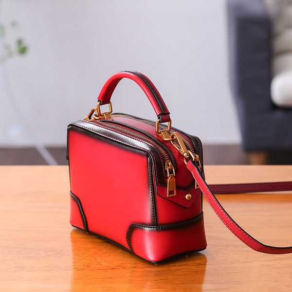 Womens Leather Cube Bag Crossbody Bags Shoulder Bag Purses for Women