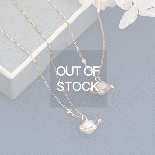 Cute Planet Fresh Water Pearl Pendant Necklace Gold Plated Sterling Silver Jewelry Accessories Women