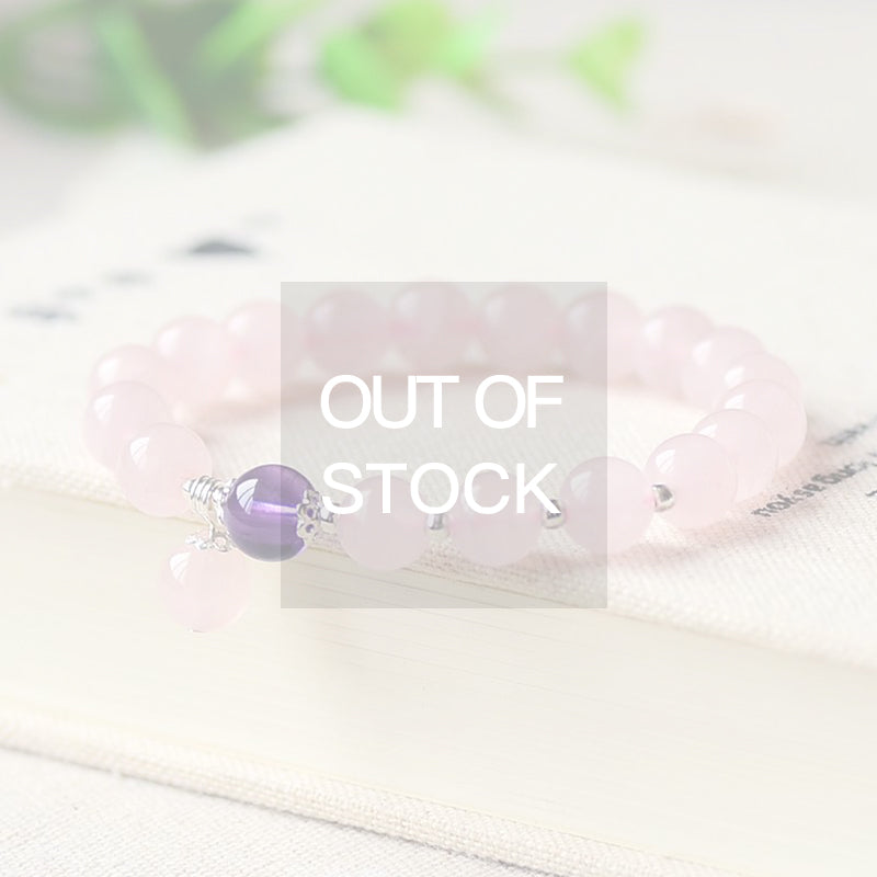 Rose Quartz Amethyst and Sterling Silver Bead Bracelet Handmade Jewelry Accessories Gifts for Women
