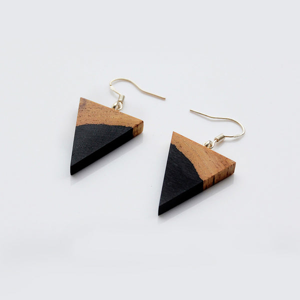 silver Wooden drop Earrings women men Jewelry fashion