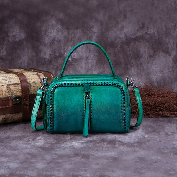 Vintage Genuine Leather Handbag Crossbody Shoulder Bags Purses Women blue