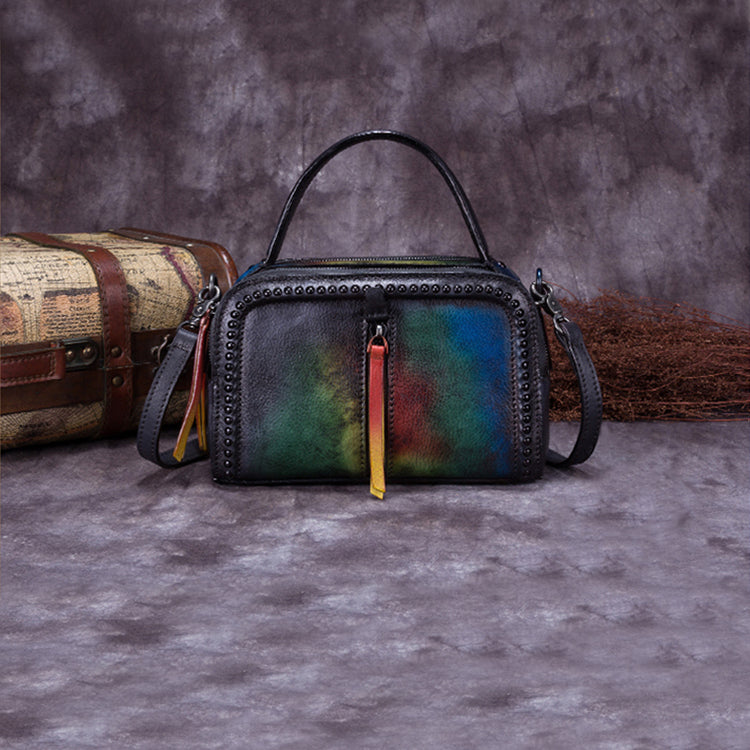 Vintage Genuine Leather Handbag Crossbody Shoulder Bags Purses Women green blue