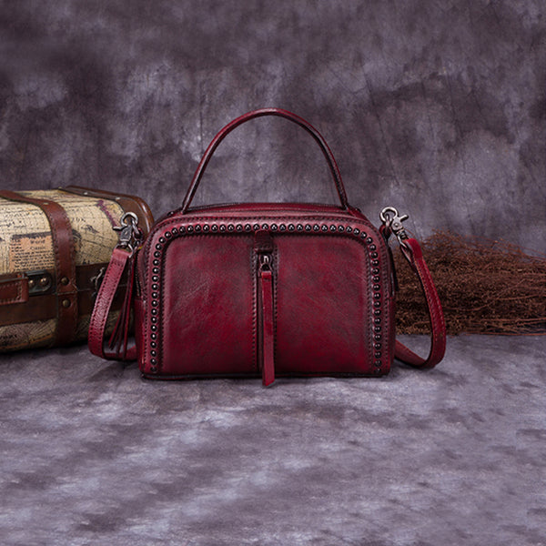 Vintage Genuine Leather Handbag Crossbody Shoulder Bags Purses Women dark red