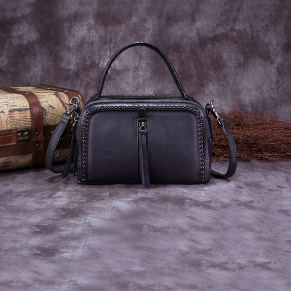 Vintage Genuine Leather Handbag Crossbody Shoulder Bags Purses Women grey