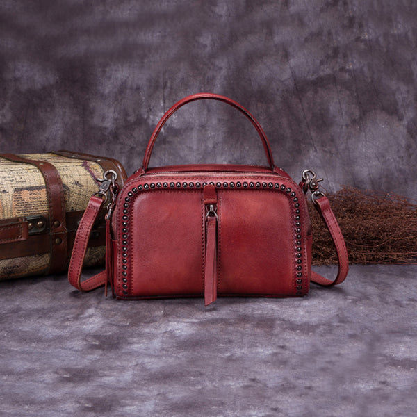 Vintage Genuine Leather Handbag Crossbody Shoulder Bags Purses Women red