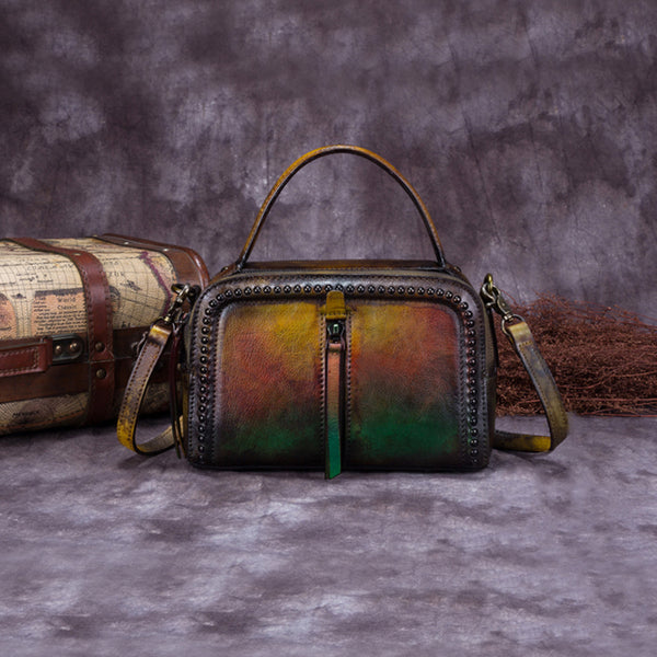 Vintage Genuine Leather Handbag Crossbody Shoulder Bags Purses Women yellow green