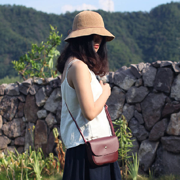 Stylish Womens Leather Saddle Bag Crossbody Bags Purse for Women Unique