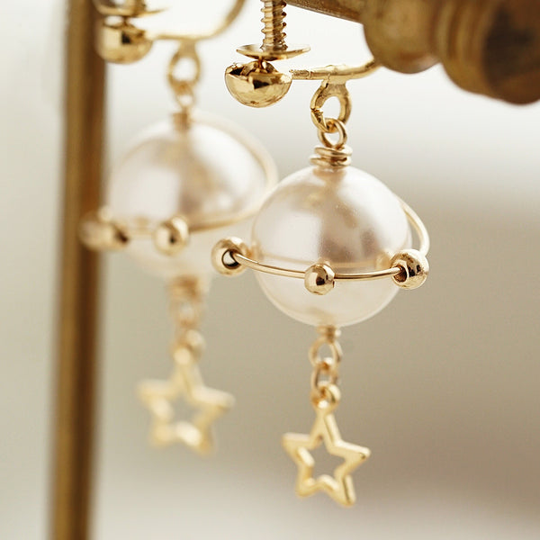 Cute Pearl Hook Clip Earrings 14K Gold Plated Unique Handmade  Jewelry For Women