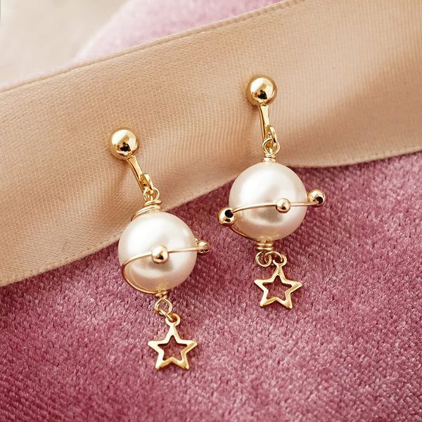 unique handmade Pearl Hook Clip Earrings Gold Jewelry Women beautiful