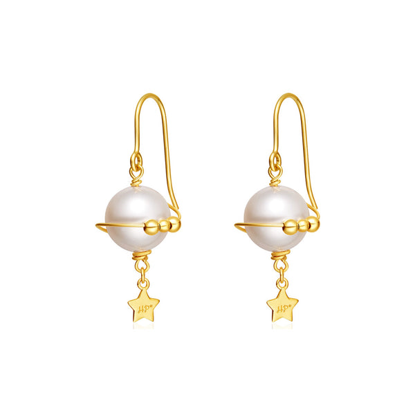 unique handmade Pearl Hook Clip Earrings Gold Jewelry Women chic