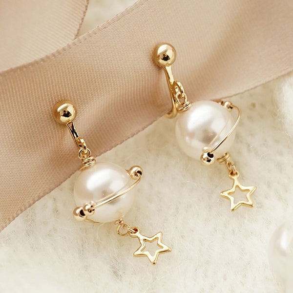 unique handmade Pearl Hook Clip Earrings Gold Jewelry Women cool