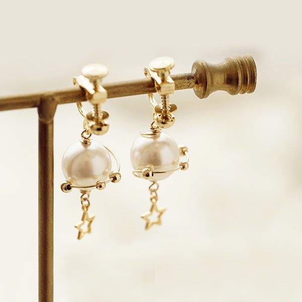 unique handmade Pearl Hook Clip Earrings Gold Jewelry Women cute