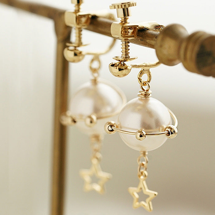 unique handmade Pearl Hook Clip Earrings Gold Jewelry Women elegant