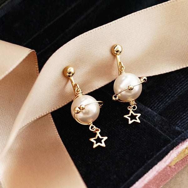 unique handmade Pearl Hook Clip Earrings Gold Jewelry Women