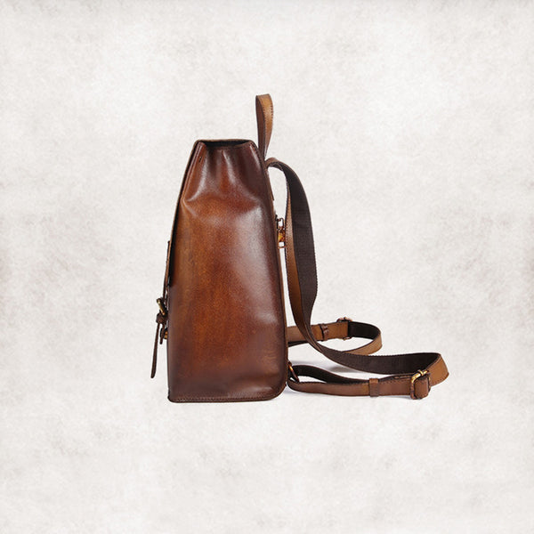 vintage leather backpack bag women details
