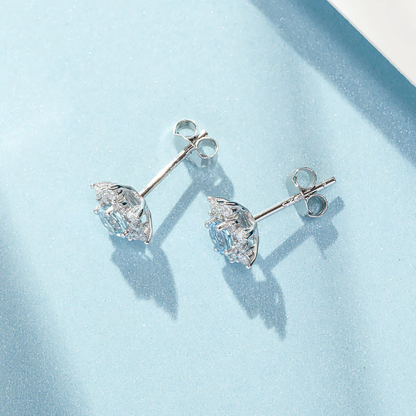 womens March Birthstone Jewelry Aquamarine Earrings for women nice