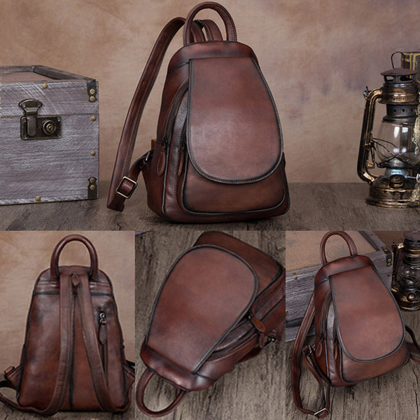 Womens Brown Dyeing Leather Backpack Purse Laptop Book Bag for Women