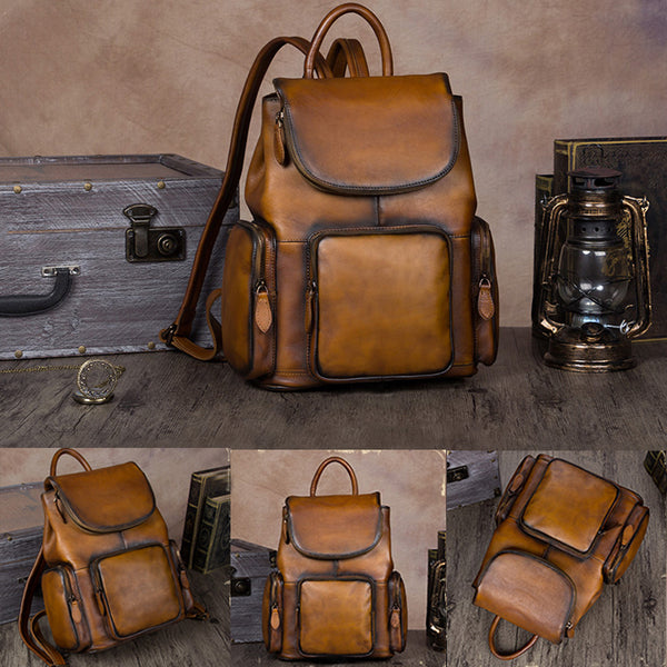 womens small Leather Backpacks School bag for Women brown