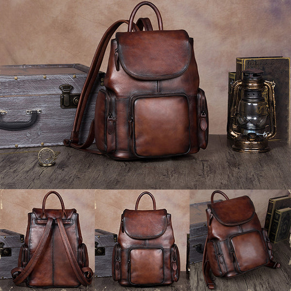 womens small Leather Backpacks School bag for Women coffee