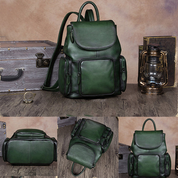 womens small Leather Backpacks School bag for Women green