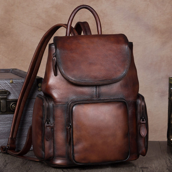 Vintage Womens Brown Leather Backpack Purse Designer Laptop Book Bag for Women