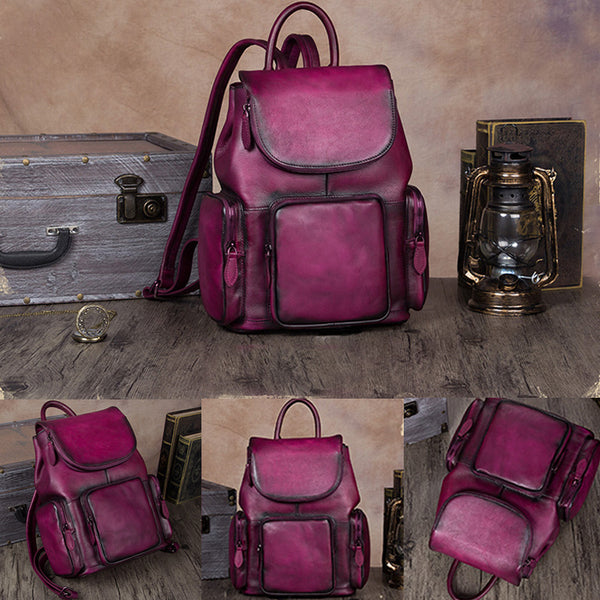 womens small Leather Backpacks School bag for Women purple