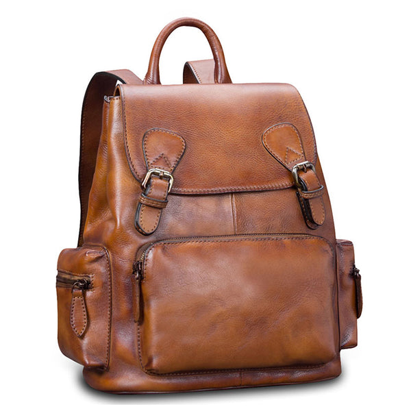 Cool Womens Brown Leather Backpack Purse Trendy Backpacks for Women