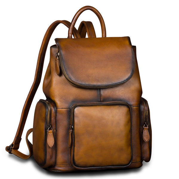 womens small Leather Backpacks School bag for Women vintage
