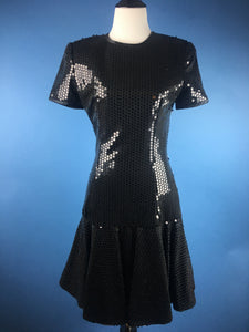 A.J. Bari Sequin Little Black Dress With Secret Hot Red Lace