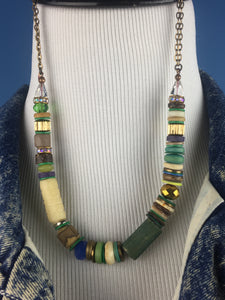 Badu Choker in Blues, Greens, and Creams