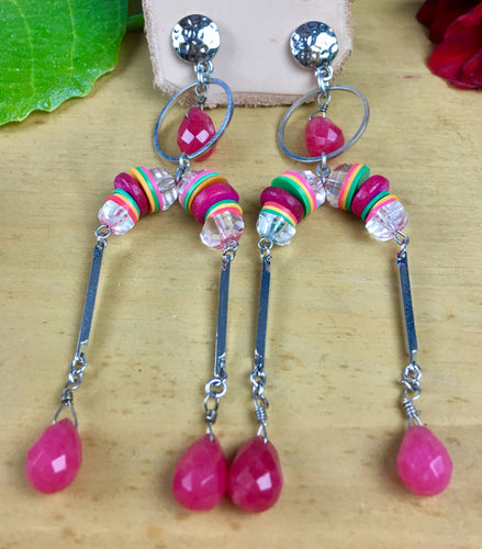 Dangly Roots Stud Earrings Silver with Fuschia Agate Drops