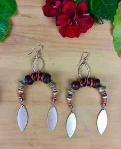 Roots Earrings in Red and Wood with Matte Gold Drops