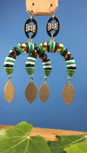 Roots Earrings in Gold Black and Green with Matte Gold Droplets