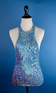90s crochet aqua sequin halter by Pamplona