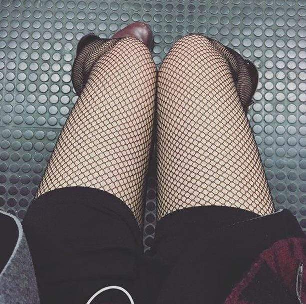edgy fishnet tights