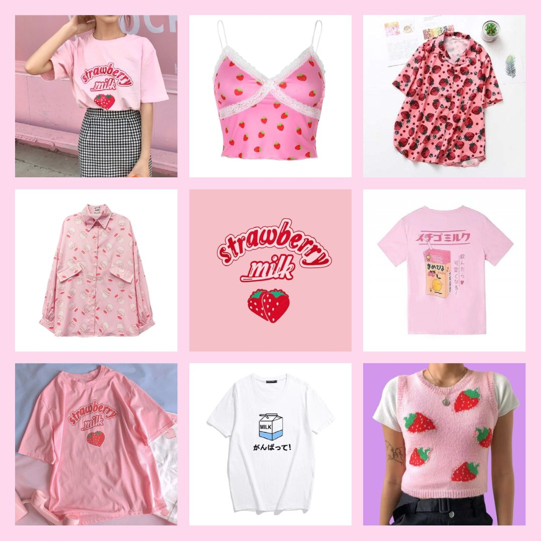 strawberry milk tops and t-shirts