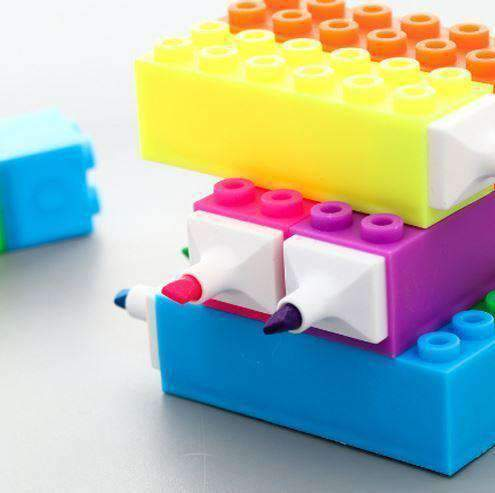 6 Pcs Building Block Highlighter Pens - lego highlighters - All Things Rainbow