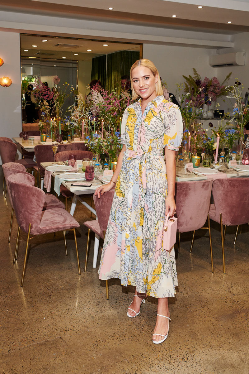 Deborah Symond O'Neil wears Derek Lam Map Dress