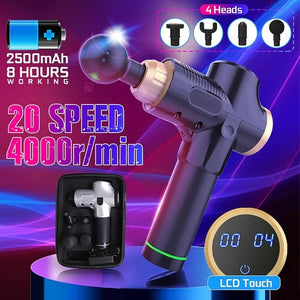 4 in 1 Electric Deep Tissue Massage Gun for Muscle Relaxation & Pain Relief
