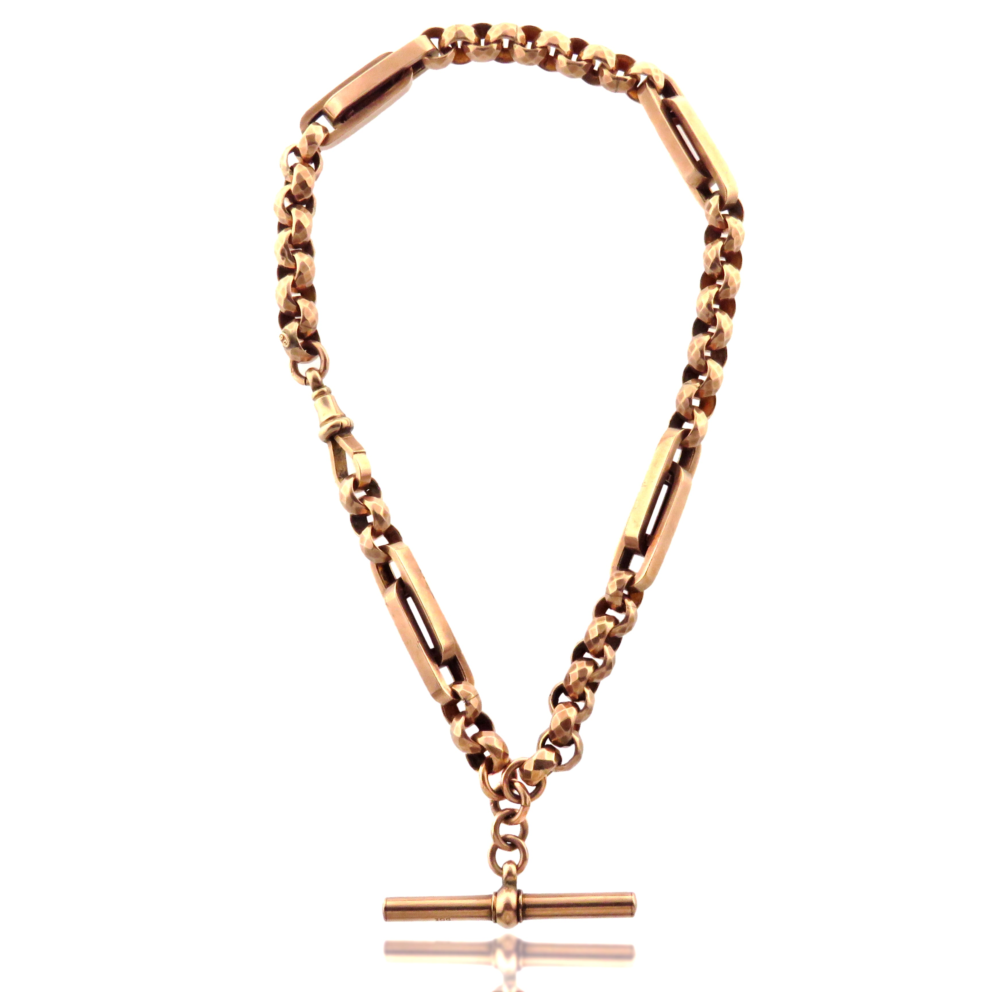 9ct Pink Gold Victorian Trombone and Belcher Link Chain with T Bar