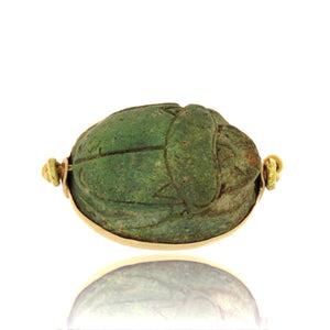 22ct Pre-Hellenistic Faience Scarab Pendant/Flip Ring with Original Band
