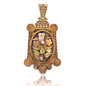Quatricolor 14ct Gold Language of Flowers Locket Pendant